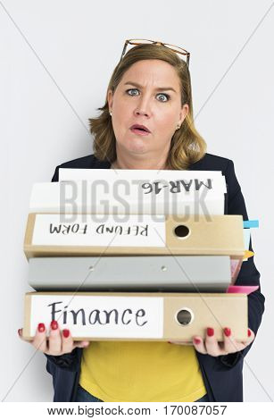 Woman Stress Overload Hard Working Concept