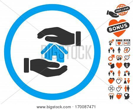 Realty Insurance Hands pictograph with bonus lovely icon set. Vector illustration style is flat iconic symbols for web design, app user interfaces.