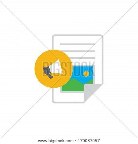 Vector icon or illustration showing web site content with text file and megaphone in material design style