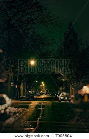 Dark City Street at Night