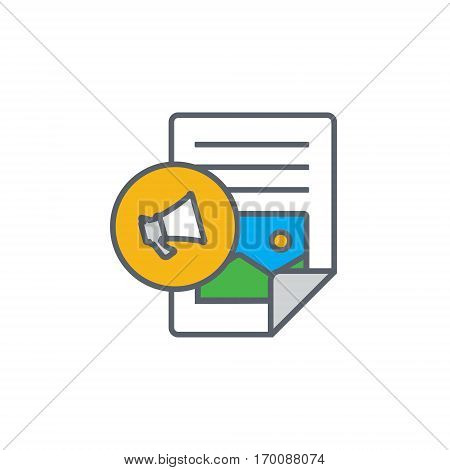Vector icon or illustration showing web site content with with text file and megaphone in outline design style
