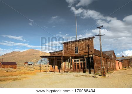 Preserved historic buildings in Bodie California