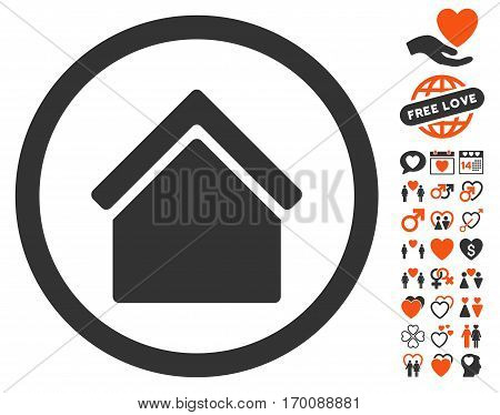 Home icon with bonus decoration pictograph collection. Vector illustration style is flat iconic symbols for web design, app user interfaces.