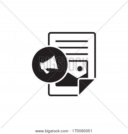 Vector icon or illustration showing web site content with with text file and megaphone in one balck color