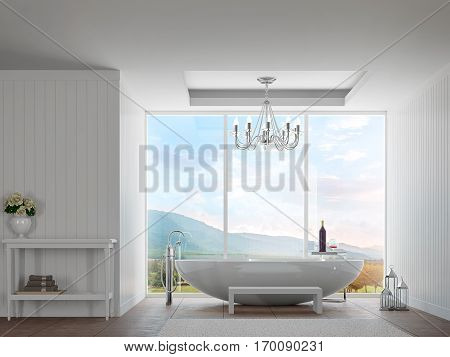 Modern white bathroom with mountain view 3d rendering image.There are decorate wall with white wood pattern.There are large window over looking the surrounding nature and mountains