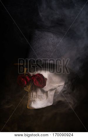 Spooky skull in tophat with red roses, Halloween theme