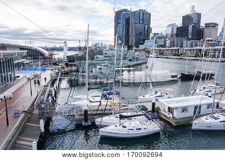 speed boat and cruise at pier taken in Darling Harbour Sydney on 4 July 2016