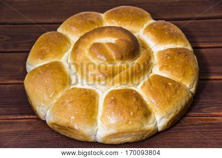 Bread on wooden table. Bread is bakery. Bread is bake. Breads from wheat.