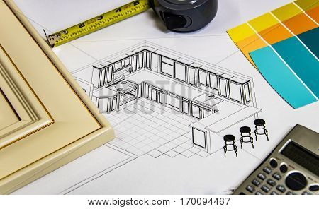 Renovation design of kitchen project with door calculator paint samples and tape measure