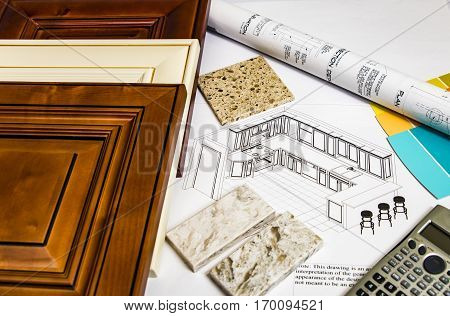 a renovation plan of interior kitchen material selection, kitchen doors, cabinet colors, granite counters, wall paint samples and kitchen design