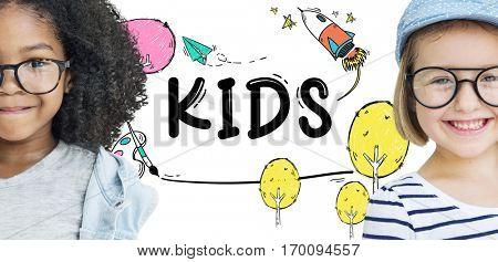 Kids Children Childhood Imagination Concept