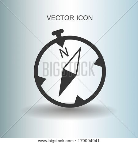 Flat compass icon. vector illustration