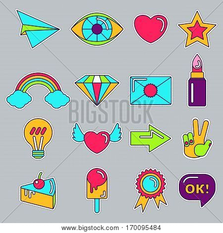 Set of stickers, pins, patches in cartoon 80s-90s comic style. Fashion patch badges with hearts, speech, stars and other elements. Flat vector illustration. Objects isolated on a white background.