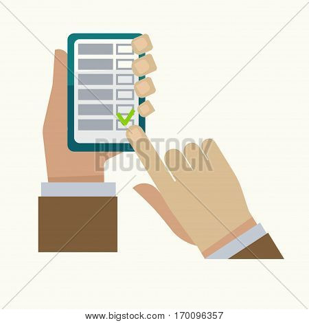 Man makes check mark in tasks list on smartphone screen or notepad with finger. Business vector illustration