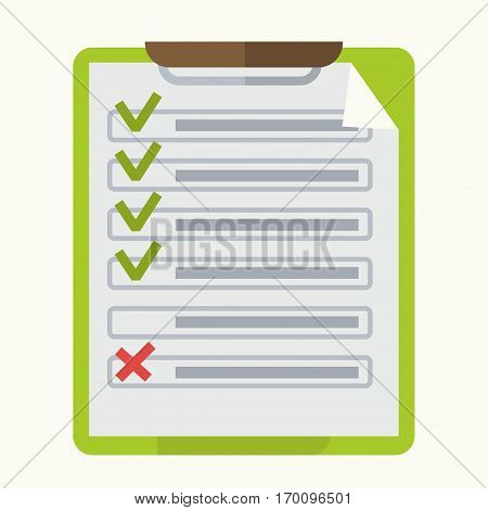 Notepad and tick marks in check list on notepad. Business vector illustration