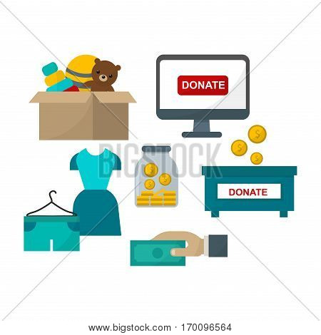 Donate help symbols charity organization heart flat icons. Set of clothes donation abstract isolated vector illustration. Humanitarian holding money.