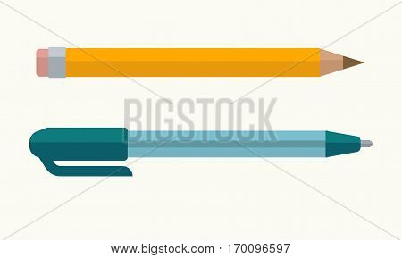 Pen and pencil with eraser tip vector icons. Business or office writing stationery supplies