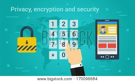 Vector horizontal banner of Privacy encryption and security concept. Hand makes a click on a pin code panel padlock and smart phone with open on screen personal account in flat style on green-blue