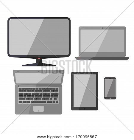 Laptop or notebook, smartphone or mobile phone and pad tablet vector isolated flat icons. Modern smart electronic devices and monitor display for office business work