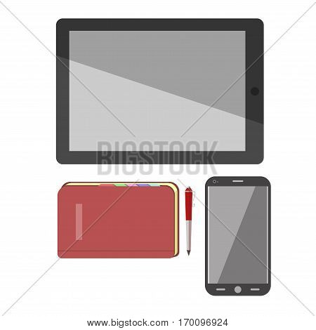 Smartphone, pad tablet and notebook with pen vector isolated flat icons. Modern smart electronic devices for office manager and business work