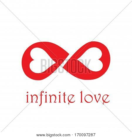 Vector sign infinite love with two hearts