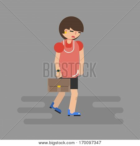 Walking business woman in depression on grey with case