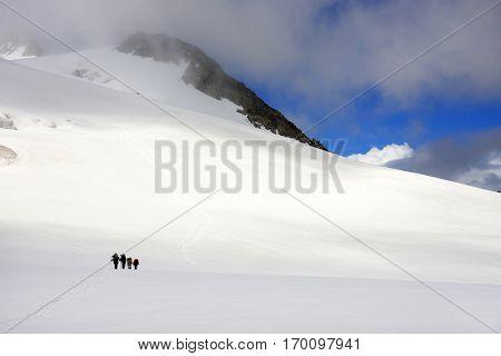 Alpinists traversing Mensu Glacier in Altai Mountains, Russian Federation
