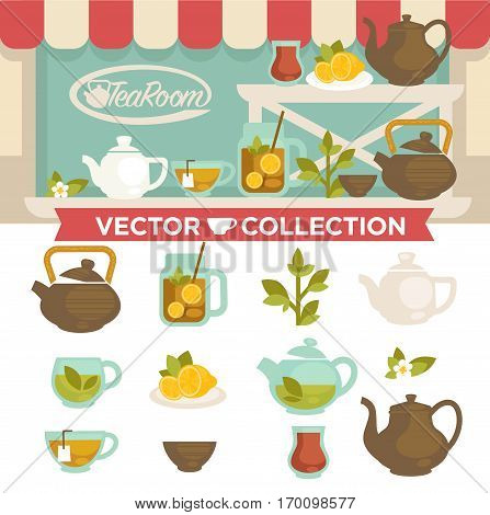 Tearoom drinks vector collection on showcase. Brown and white pots, plate with lemon slices, cup of tea, glass jar with welding on shelves outdoors and set of elements for tea party on white