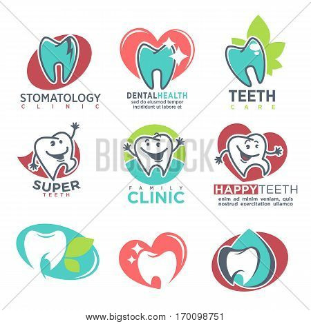 Stomatology family clinic, dental health and super teeth care emblems vector logos on white. Collection of healthy happy and damaged, white and blue teeth on labels. Dental care conceptual ads set