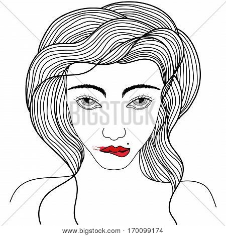 Hand drawn beautiful portrait of stylish young girl is biting her red lips. Woman with smeared lipstick a mole above the lips. Tattoo art. Isolated vector illustration. Trendy print.