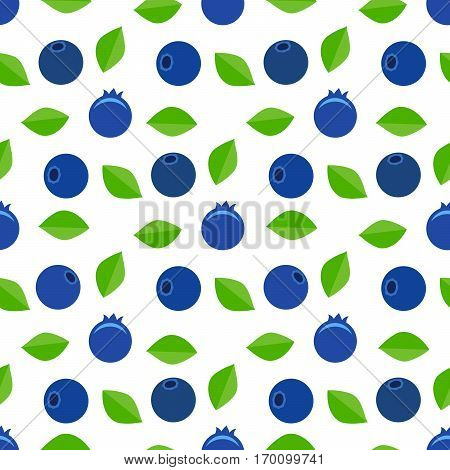 Seamless vector pattern. Is scattered blueberries with green leaves on a white background