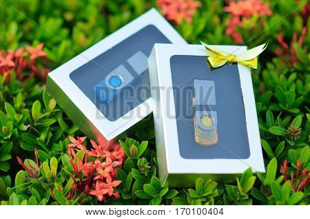 Blue and Yellow color USB flash drives in a gift set boxs on bush