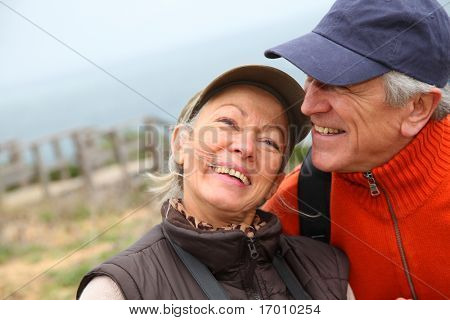 Portrait of senior couple on hiking day