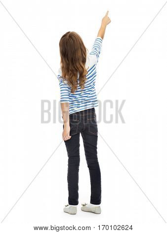 education, people and childhood concept - girl pointing finger at something invisible over white