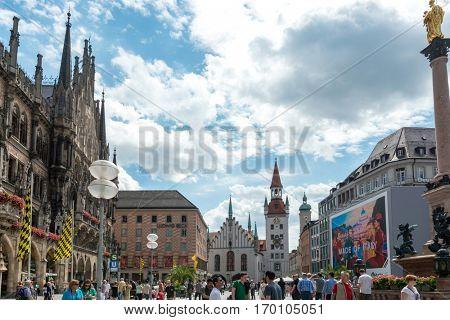 MUNICH, GERMANY-July 5, 2016: Street view of Tourists on foot Street in Downtown Munich on July 5, 2016, in Munich, Germany.