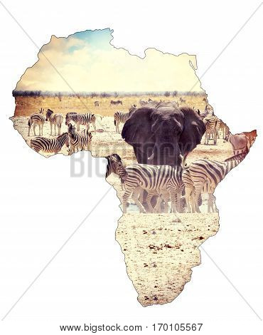 Map Of Africa Continent Concept, Safari On Waterhole With Elephants