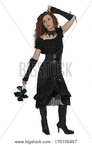 Gothis Woman With Black Flowers