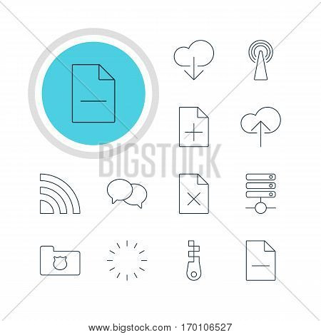 Vector Illustration Of 12 Web Icons. Editable Pack Of Fastener, Wireless Network, Waiting And Other Elements.