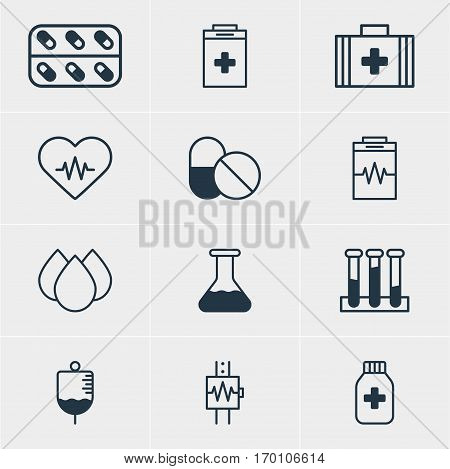 Vector Illustration Of 12 Medicine Icons. Editable Pack Of Trickle, Heartbeat, Experiment Flask And Other Elements.