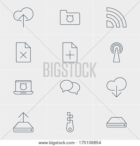 Vector Illustration Of 12 Web Icons. Editable Pack Of Wireless Network, Document Adding, Data Upload And Other Elements.