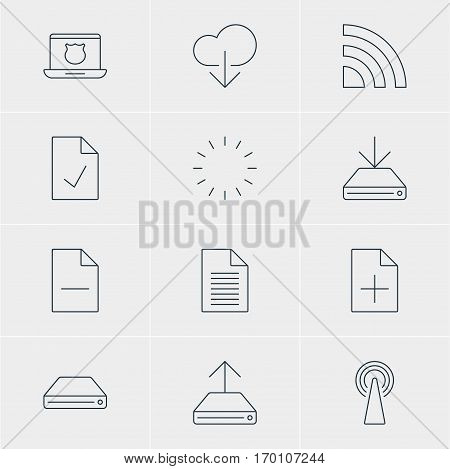 Vector Illustration Of 12 Network Icons. Editable Pack Of Hdd Sync, Secure Laptop, Waiting And Other Elements.