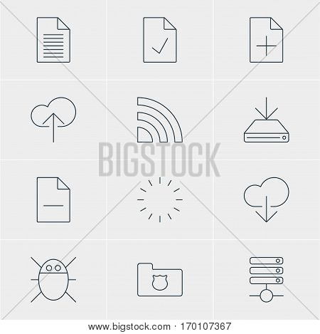 Vector Illustration Of 12 Internet Icons. Editable Pack Of Server, Computer Virus, Information Load And Other Elements.