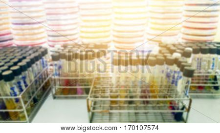 Abstract blur as background of Specimen blood tube and blood agar in laboratory research.