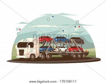 Transportation of cars. Big truck exports cars. Vector flat illustration