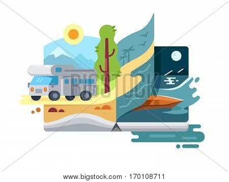 Holidays and vacations in nature. Travel trailer outdoor rest. Vector illustration