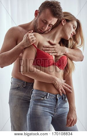 Taking Off Woman Bra