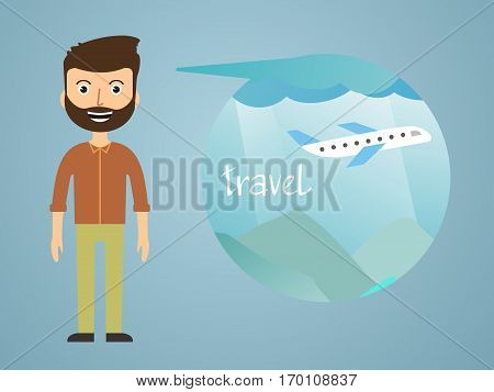 man dreaming about his vacation. vector illustration