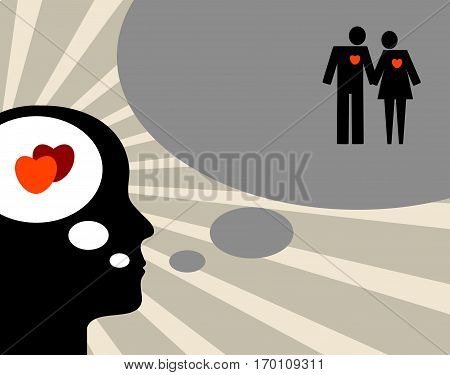 Man head thinking about love silhouette, vector illustration