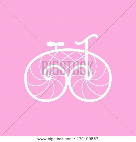 Vector white bicycle on pink background. Retro vintage bike