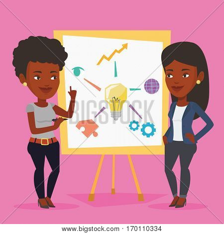 Two african-american business women discussing a project. Group of business women working on project. Woman drawing business project on a board. Vector flat design illustration. Square layout